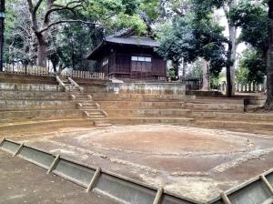 Sumo ring at Setagaya Hachiman jinja