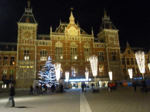 Amsterdam central station by night