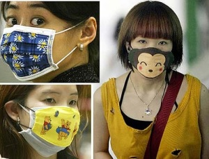 People in Japan wearing masks as part of a fasion statement