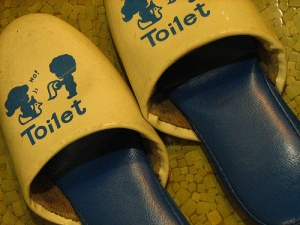 Slippers used only when visiting the bathroom