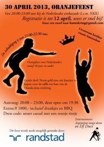 Flyer for the Dutch queensday party at the embassy on April 30th