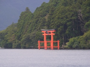 View from the boat at lake Ashi