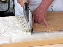 Soba being cut by the master. All hand made.