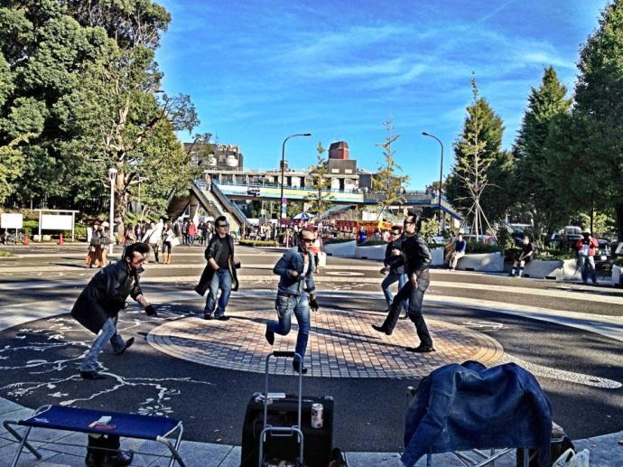 Rockers dancing to Japanese rock music