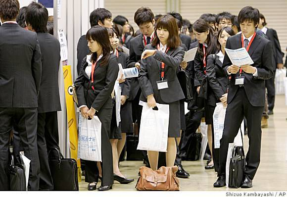 Japanese workers. Everyone looks exactly the same but unfortunately not all receive the same treatment.