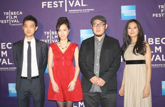 Sound designer Jo Keita, actress Kiki Sugino, 'Odayaka' director Nobuteru Uchida and actress Yukiko Shinohara pose at the Tribeca Film Festival in New York on April 18.