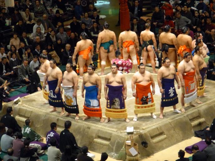 Sumo wrestlers on display