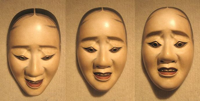 Vivid and Powerful Noh masks. Three pictures of the same nō 'hawk mask' showing how the expression changes with a tilting of the head. The mask was afixed to a wall with constant lighting and only the camera moved.
