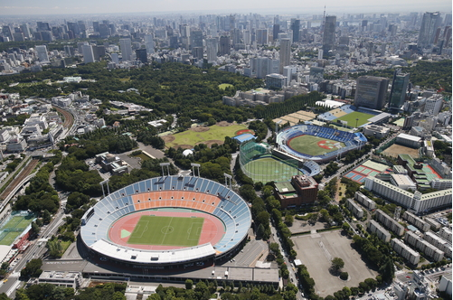 An aerial view of the National Stadium in Tokyo's Shinjuku Ward, which will be heavily renovated for the 2020 Tokyo Olympics and Paralympics.